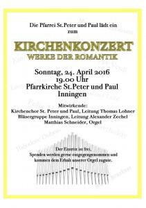 Einladung zum Kirchenkonzert St. Peter & Paul – 24. April